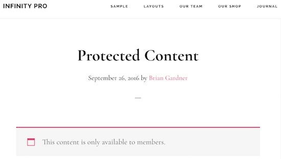 Infinity Pro Protected Content
